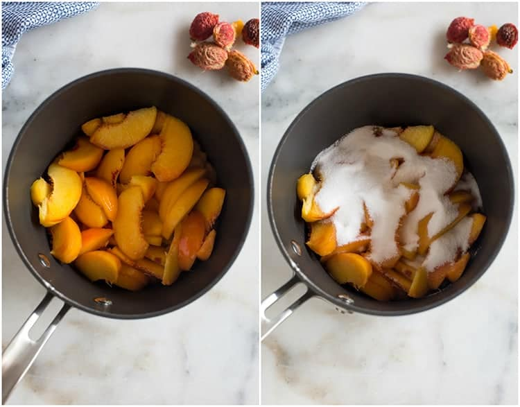 Side by side photos of a saucepan with sliced peaches in it, and the other photo with sugar and salt added on top.