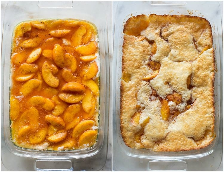 Overhead photo of peach cobbler in a pan before it has been baked, and after.
