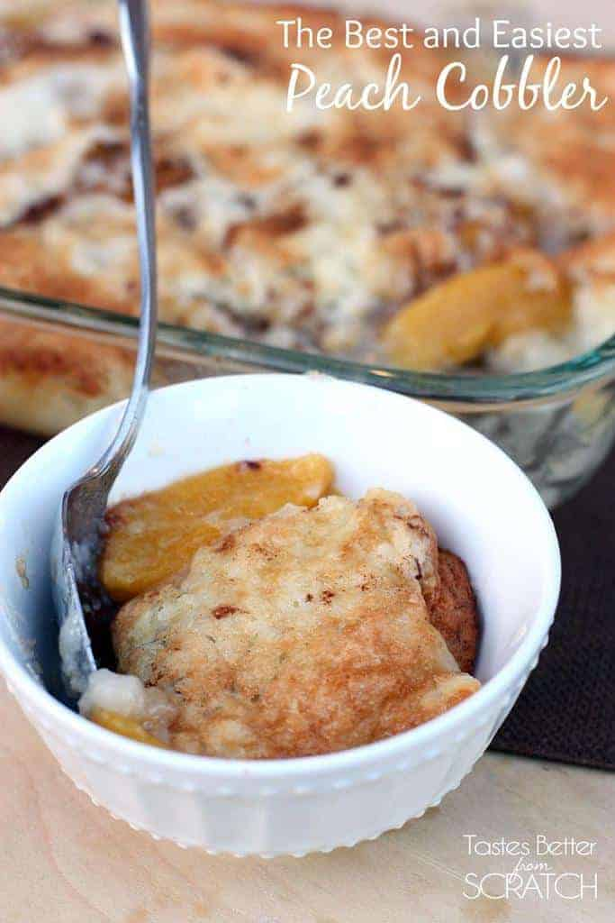 The Best and Easiest Peach Cobbler from TastesBetterFromScratch.com