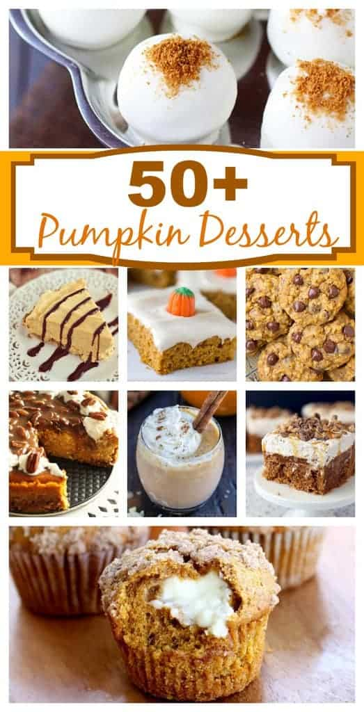 A round up of more than 50 easy pumpkin dessert recipes! #pumpkinrecipe #pumpkindessert #easy