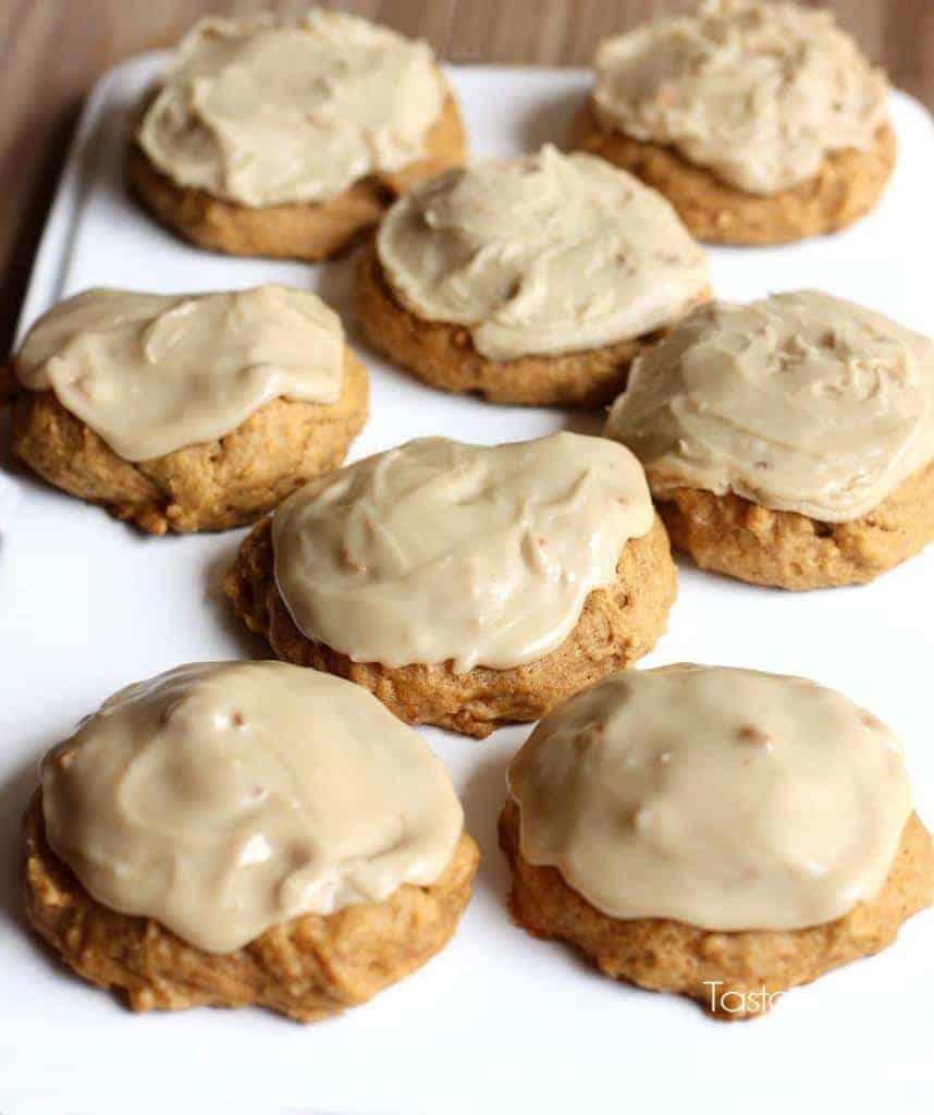 Pumpkin Cookies with Caramel Frosting recipe from TastesBetterFromScratch.com-- soft pumpkin cookies with a melt-in-your-mouth caramel frosting!