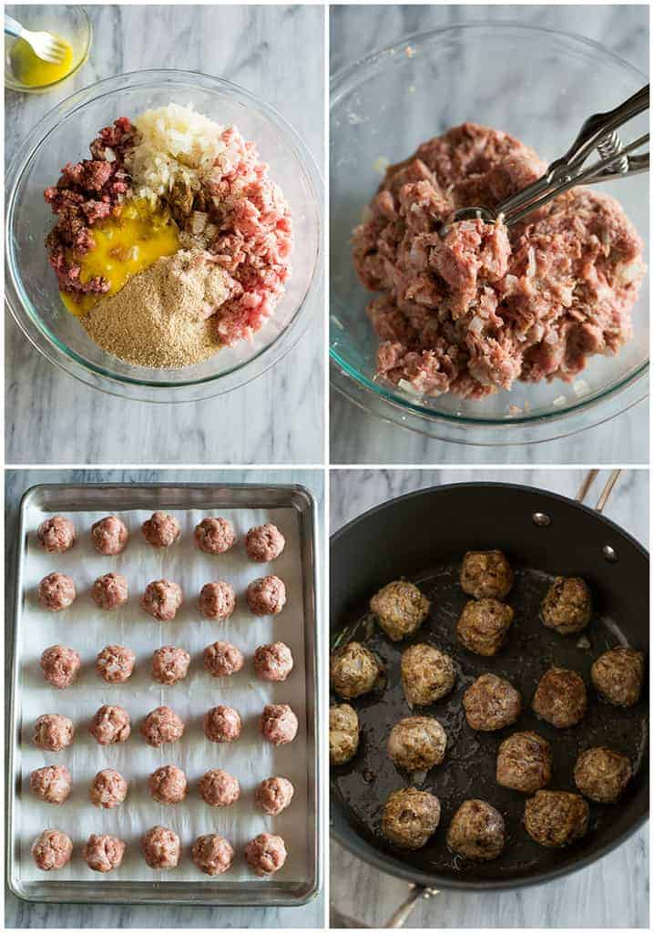 Process photos for making Swedish meatballs including mixing the meatball ingredients together, the meatballs lined up on a baking sheet and meatballs browning in a skillet.