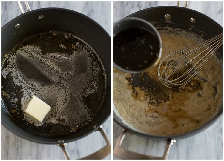 A skillet with butter melting in it next to another photo of a skillet with butter and flour mixed and beef broth being added to make gravy for Swedish meatballs.