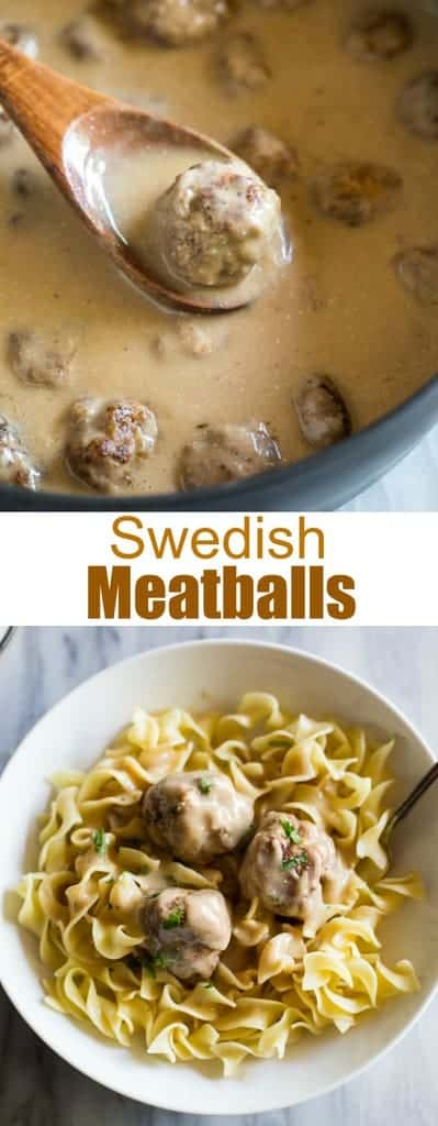 HomemadeSwedish Meatballs are homemade meatballs smothered in creamy Swedish Meatball Sauce served over egg noodles or rice. This easy recipe is very kid friendly! #swedishmeatballs #meatballs #pasta #kidfriendly #swedishmeatballssauce #easy #recipe #creamy #tastesbetterfromscratch