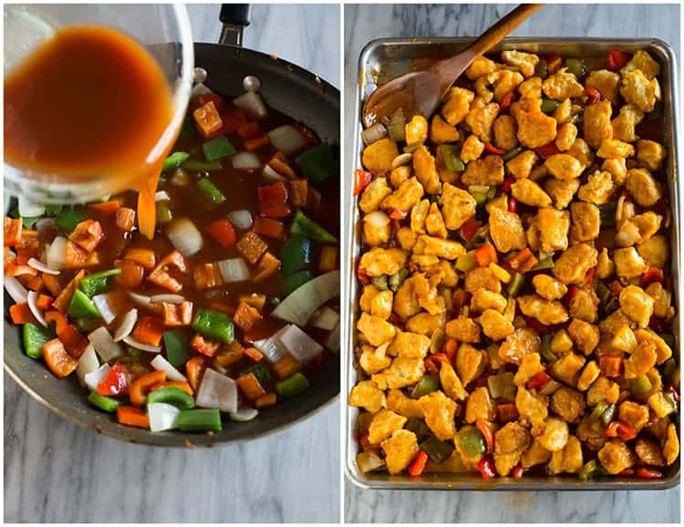 A skillet with chopped bell pepper and onion and a sweet and sour sauce being added to the pan, next to a photo of a sheet pan of cooked sweet and sour chicken with the veggies and sauce all tossed together.