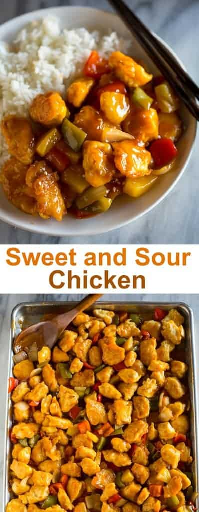 Restaurant style Baked Sweet and Sour Chickenis made with crispy baked chicken, bell peppers, onion, pineapple, and a quick and easy sweet and sour sauce. #sweetandsourchicken #sweetandsoursauce #quick #healthy #dinner #easy #kidfriendly #chinese #chicken #tastesbetterfromscratch