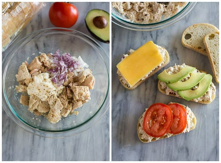 A bowl with the ingredients for making tuna melts, next to another photo of the tuna melts being assembled on open face bread slices, with cheese, tomato and avocado slices placed on top of them.