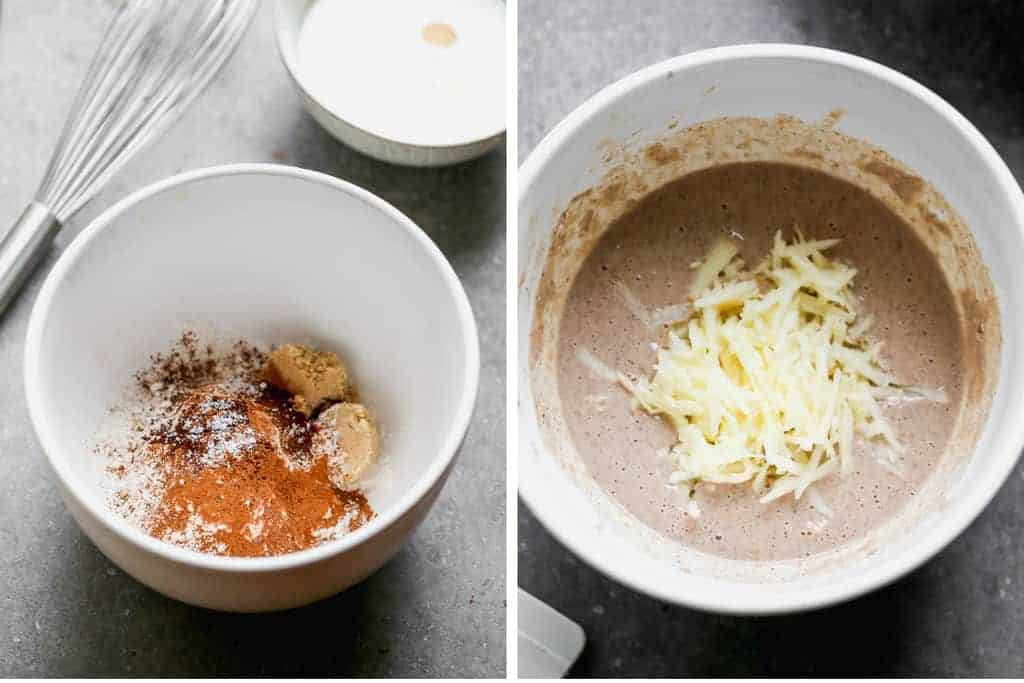 Mixing bowl with flour and spices, then wet ingredients and grated apple added to make pancakes.