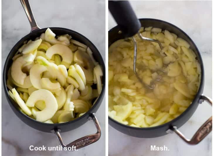 A saucepan with apples in it next to another photo of the apples cooked and being mashed with a potato masher.