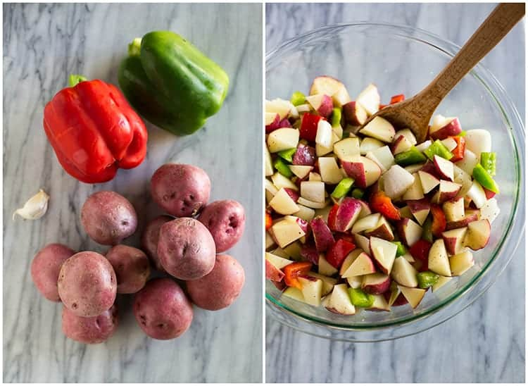Side by side photos of the ingredients for breakfast potatoes including red potatoes, bell peppers, and cloves of garlic next to another photo of a bowl with all of the ingredients chopped in it.