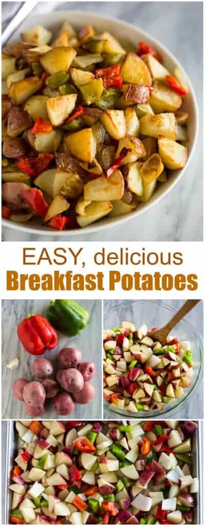 The BEST, roasted, homemade breakfast potatoes! These are even better than your favorite restaurant style roasted potatoes! #breakfastpotatoes #easy #roasted #crispy #tastesbetterfromscratch.com