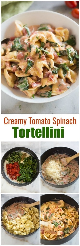 This Creamy Tomato and Spinach Tortellini pasta recipe includes cheese tortellini in a creamy, homemade pink sauce with spinach, basil, and fresh parmesan cheese.| tastesbetterfromscratch.com #tortellini #pasta #cheese #easy #italian #30minutemeal #kidfriendly #dinner #spinach #basil #easy