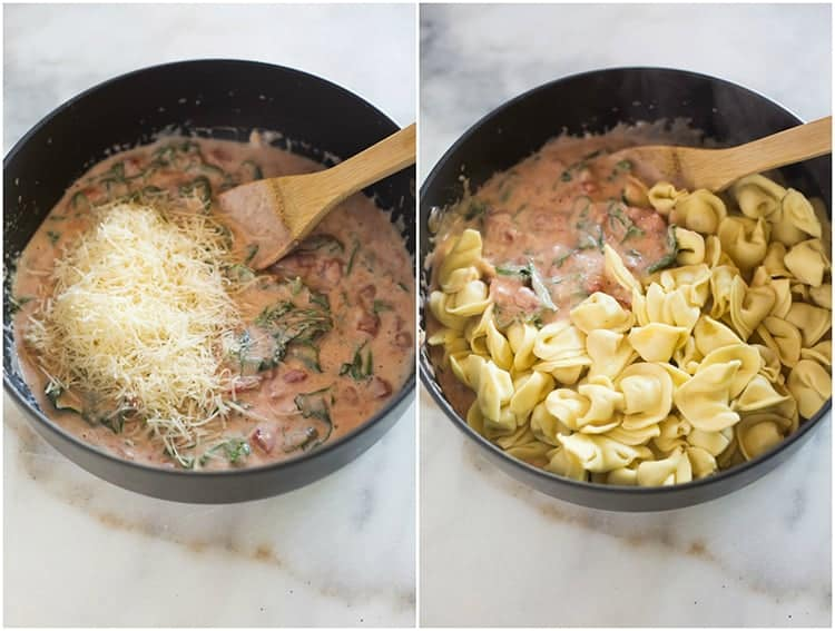 A saucepan of creamy pink sauce with fresh parmesan cheese added to it, next to the same saucepan with cooked tortellini added to it.