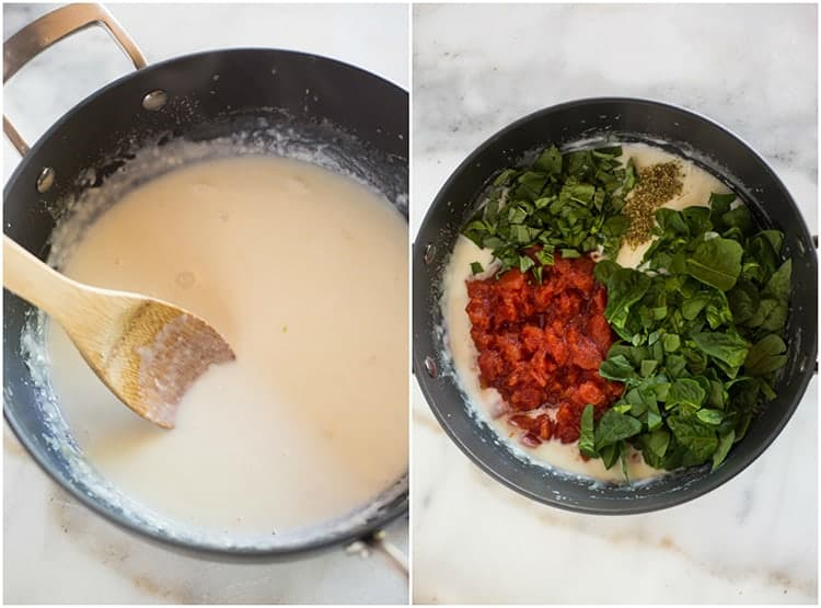 A saucepan with a homemade white sauce and a wooden spoon, next to an overhead photo of the sauce pan with diced tomatoes, spinach, basil and oregano added to it.