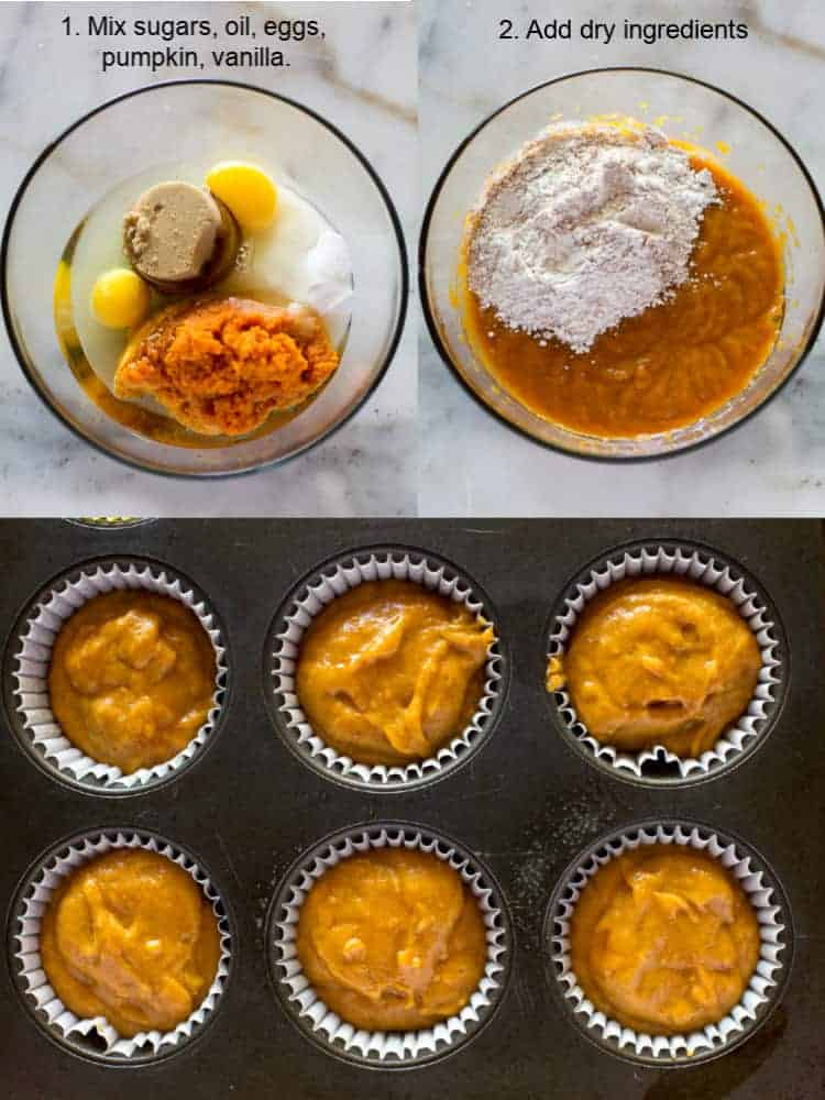 Three process photo for making pumpkin cupcake batter in a bowl and then the batter in a muffin tin ready to bake.