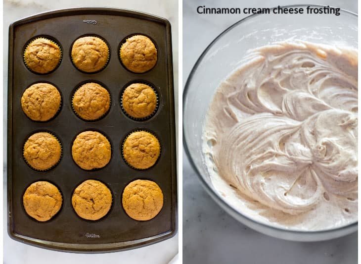 Overhead view of a muffin tin with baked pumpkin cupcakes next to another photo of cream cheese frosting in a mixing bowl.