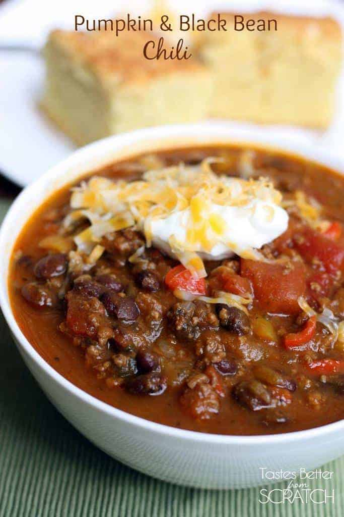 Pumpkin and Black Bean Chili recipe from TastesBetterFromScratch.com