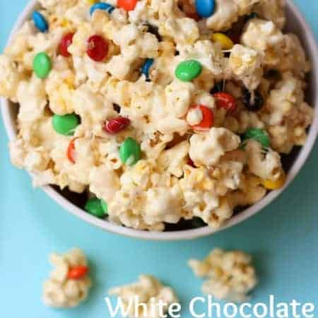 White Chocolate M&M Popcorn recipe from TastesBetterFromScratch.com