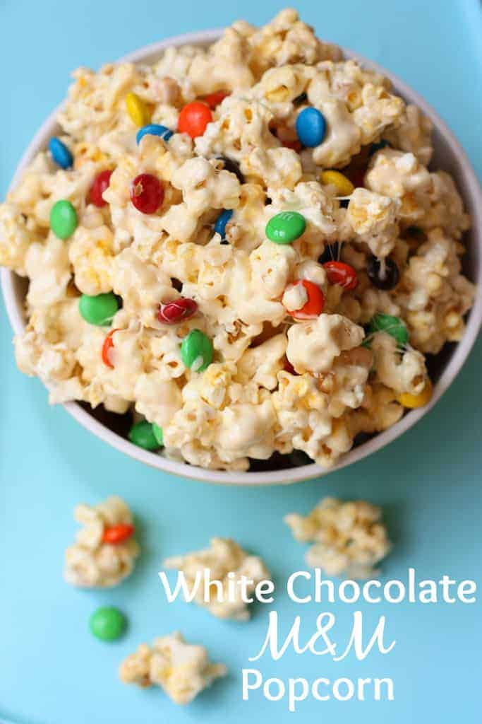White Chocolate Popcorn with M&M's | - Tastes Better From Scratch