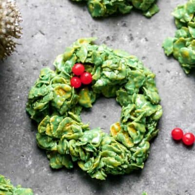 A Christmas Cornflake Wreath with red hots on top.