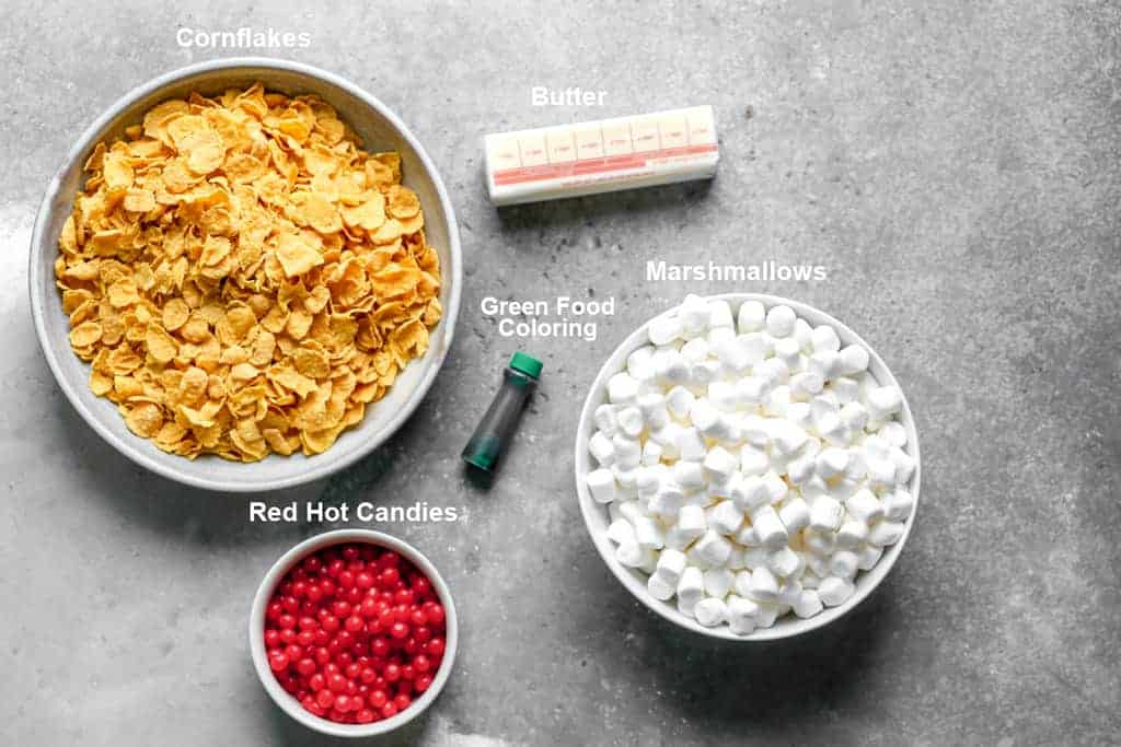 Labeled ingredients needed to make cornflake wreaths.