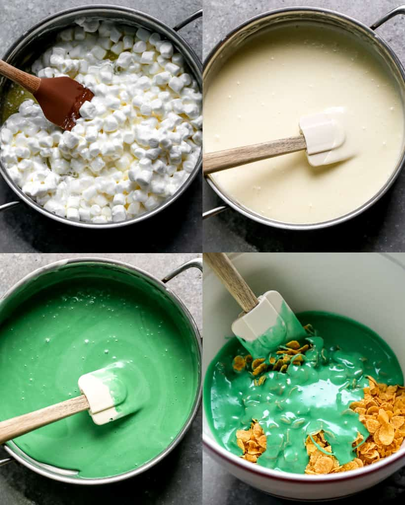 Four process photos for melting butter and marshmallows in a saucepan, adding green food coloring, and pouring over cornflakes.
