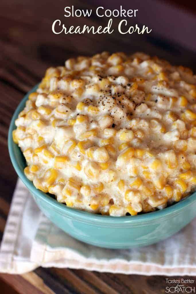 Slow Cooker Creamed Corn recipe from TastesBetterFromScratch.com - only 5 Ingredients!