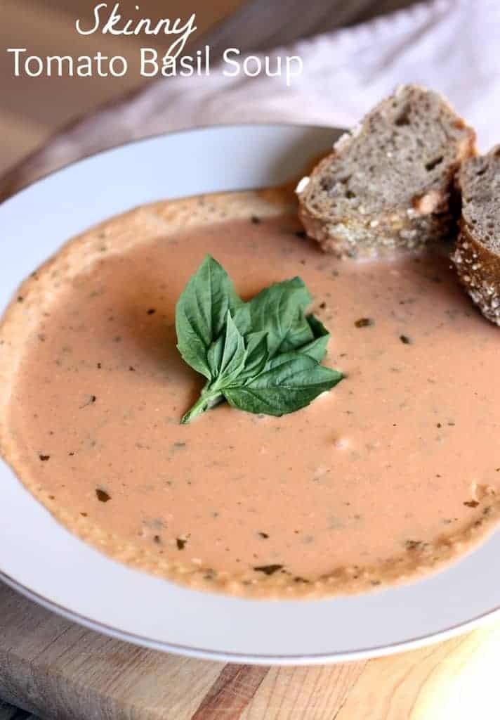 Skinny Tomato Basil Soup recipe on TastesBetterFromScratch.com