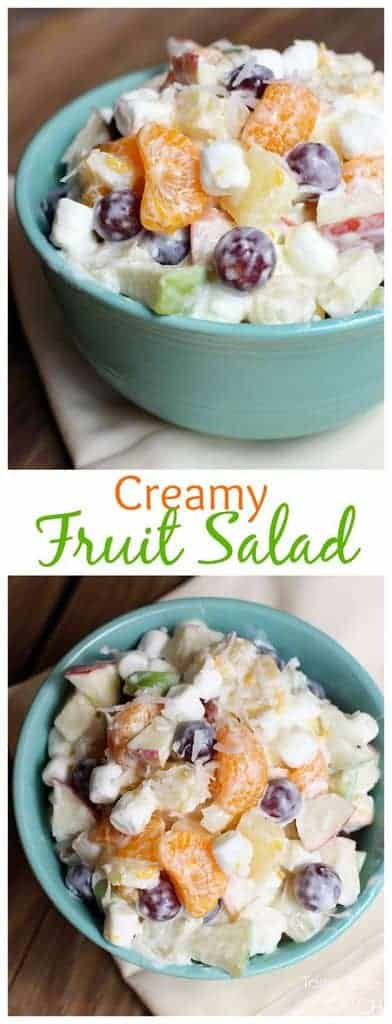 This creamy fruit salad recipe, using Greek yogurt, is sweet and creamy without the added calories!  | tastesbetterfromscrach.com  #easy #yogurt #recipe #mandarinoranges  #Greekyogurt
