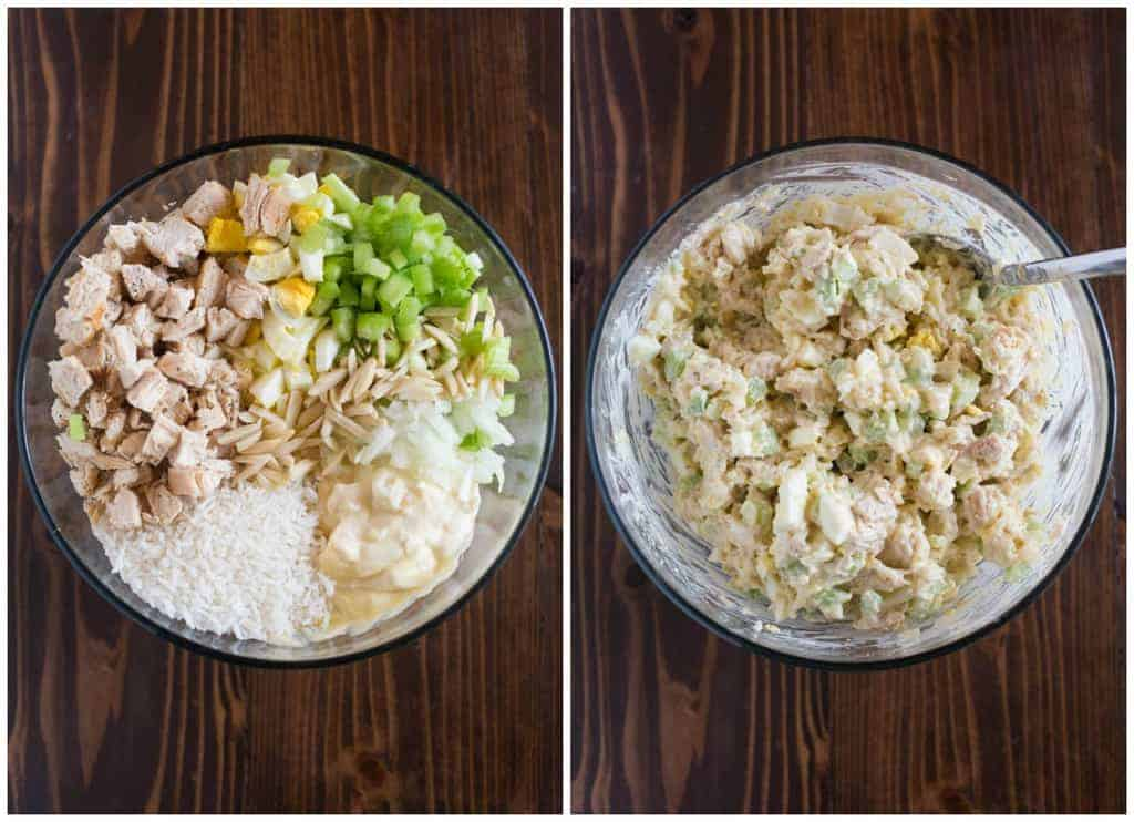 The ingredients for chicken casserole, in a glass bowl, next to a glass bowl with the ingredients mixed together.