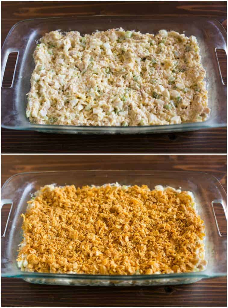 Top image of chicken casserole in a 9x12 casserole dish without cornflake topping and bottom image with cornflake topping added.