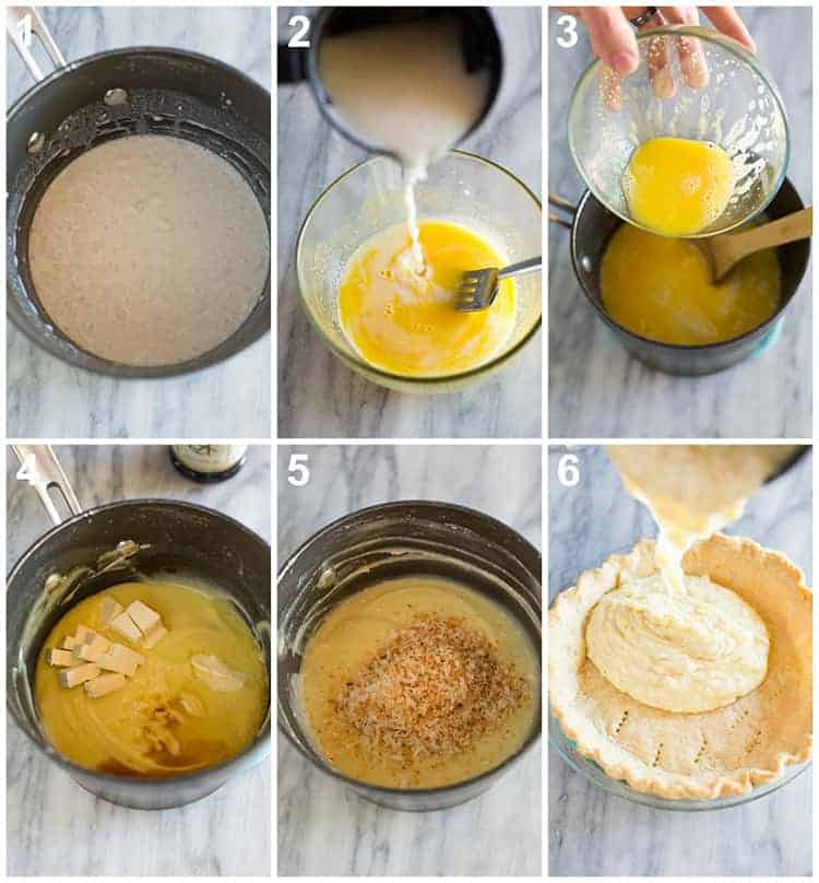 Six process photos for making the filling for coconut cream pie and pouring it into a baked pie shell.