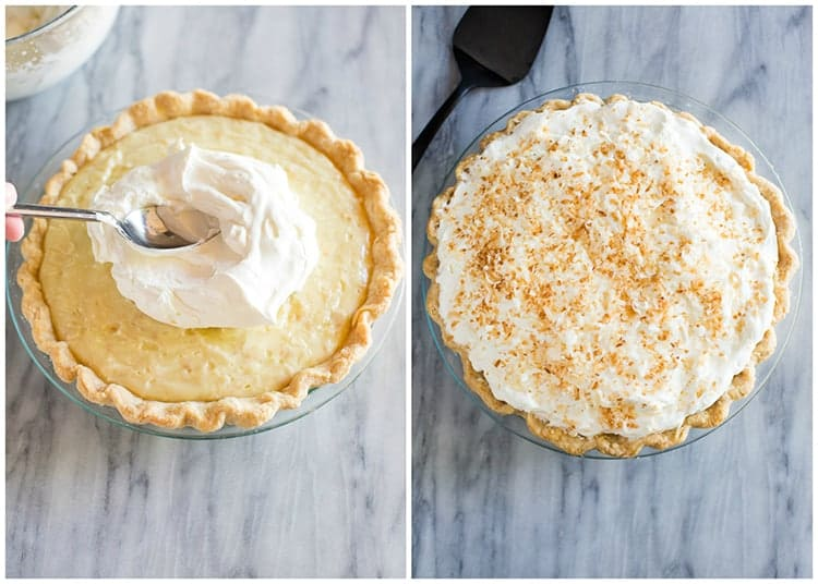 Coconut cream pie with a spoonful of whipped cream being spread on top next to another photo of the completed pie with toasted coconut sprinkled on the whipped cream.