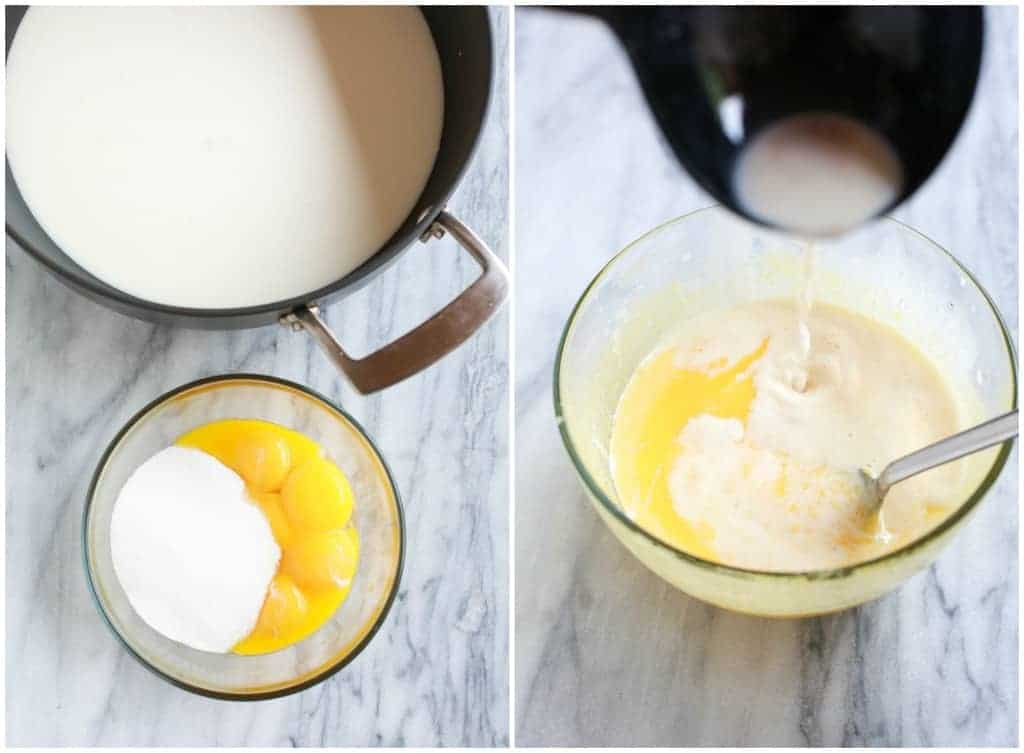 Side by side process photos for making eggnog including a saucepan with cream next to a a bowl with eggs and sugar, and the other photo with the simmered cream being mixed into the egg yolks bowl.