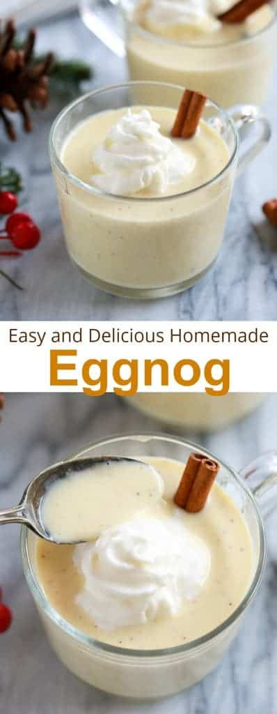 You wont believe how EASY and delicious homemade Eggnog is! Thick and creamy with the perfect mild flavor and hint of nutmeg. You'll never buy store-bought eggnog again!  | tastesbetterfromscratch.com  #easy #noalcohol #cooked #recipe #eggnog #christmas #beverage #holiday #best