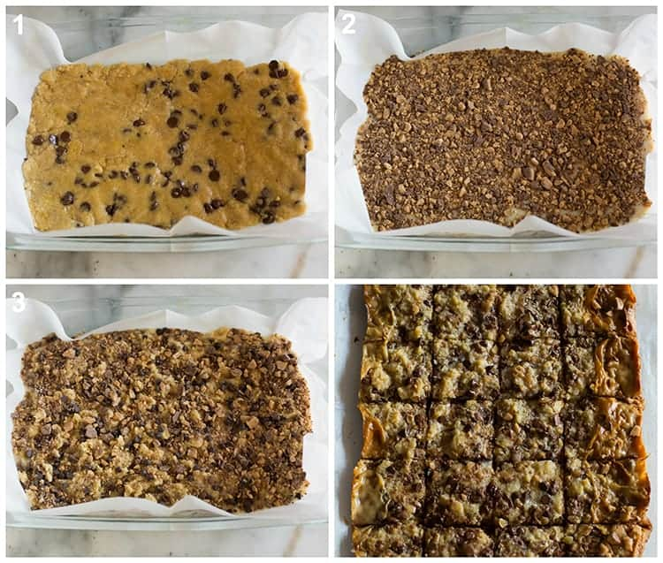 Four process photos for layering toffee chocolate chip bars in a 9x13'' pan lined with parchment paper.