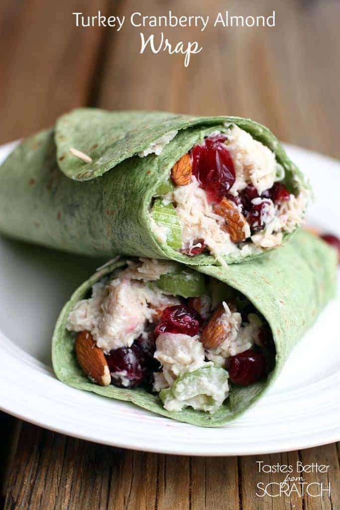 Turkey Cranberry Almond Wrap on TastesBetterFromScratch.com