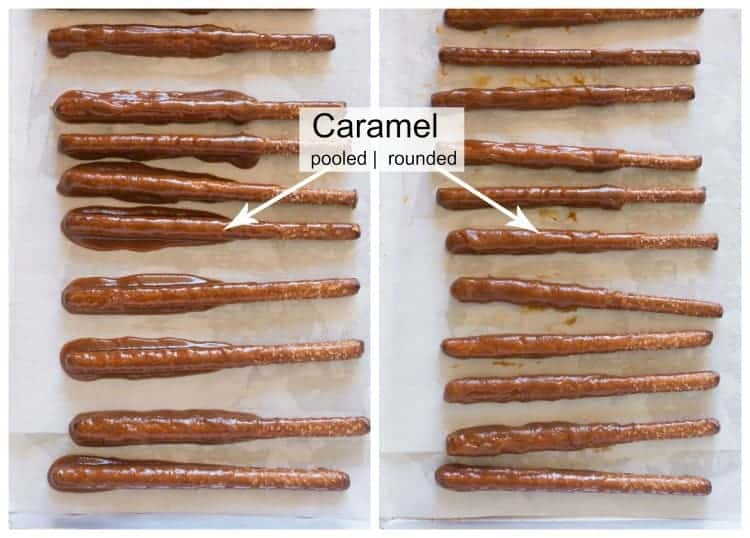 Two images of pretzel rods dipped in caramel with the first showing the caramel pool on the baking sheet, and the next showing the caramel rolled onto the pretzel rod.