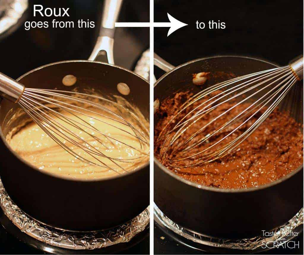 A diagram showing the start of a roux mixture and the end result.