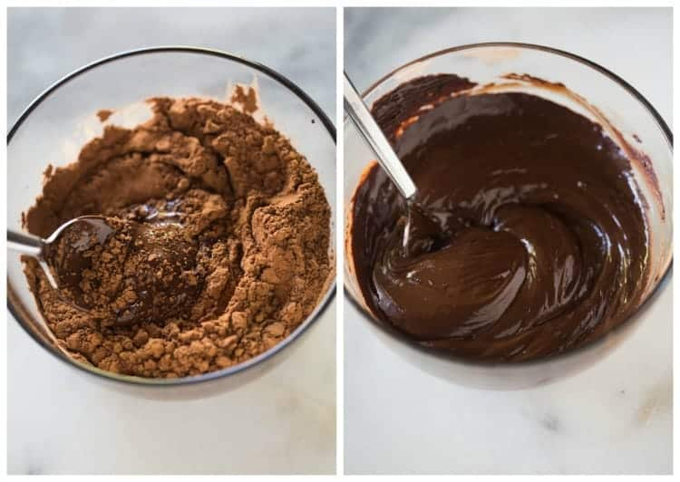 Side by side photos of glass bowls with melted chocolate with cocoa powder in it.