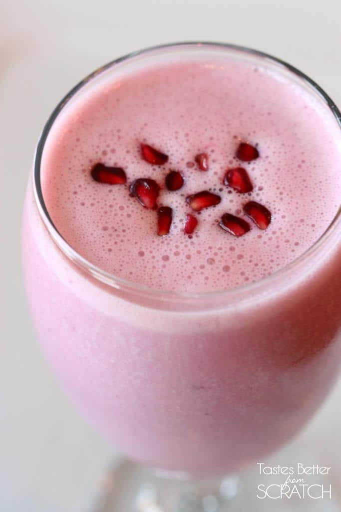 Pomegranate Berry Smoothie on TastesBetterFromScratch.com