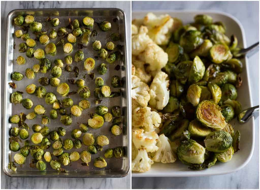 Side by side photos of a sheet pan of roasted brussels sprouts next to the roasted brussels sprouts served on a white platter.
