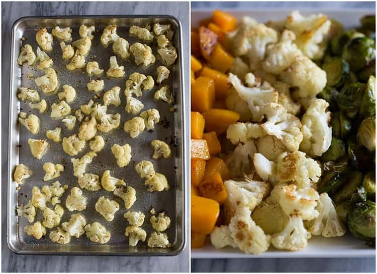 Cauliflower roasted on a sheet pan, and another photo of the cauliflower served on a tray of roasted vegetables.
