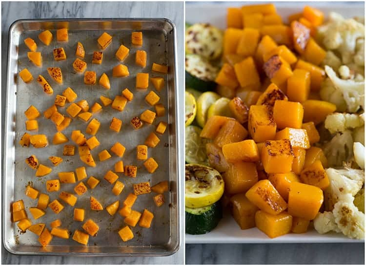 Side by side photos of roasted butternut squash.