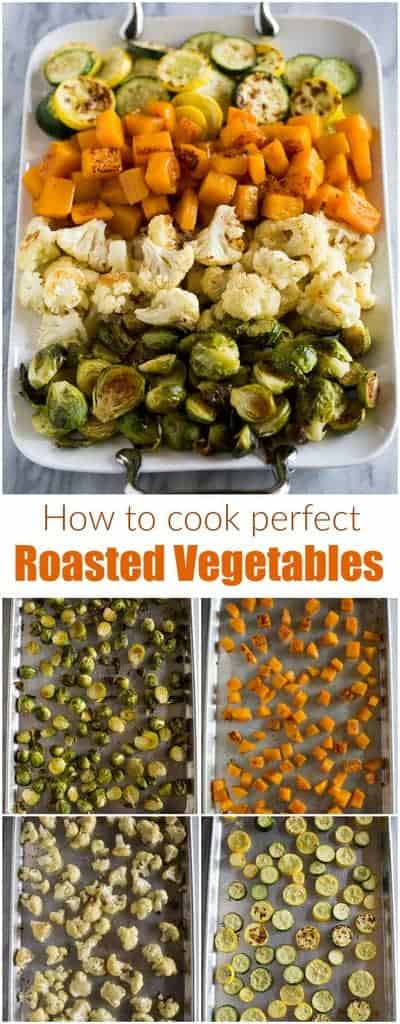 A how-to guide for making perfect Roasted Vegetables witha variety of vegetables, including brussels sprouts, butternut squash, zucchini, cauliflower, and broccoli.  #roastedvegetables #brusselssprouts #roastedbutternutsquash #roastedbroccoli