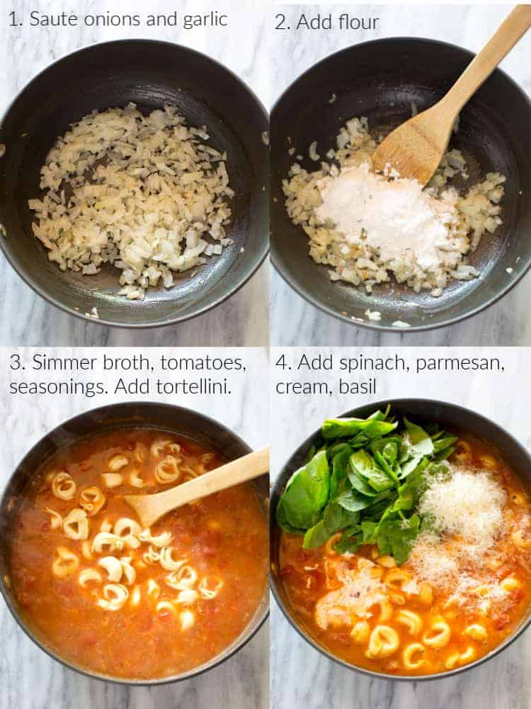 A saucepan with diced onions, then flour added, then broth, tomato soup and tortellini added, then spinach, and parmesan cheese added.