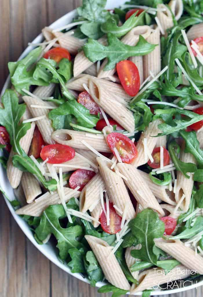 Arugula Pasta Salad recipe on TastesBetterFromScratch.com