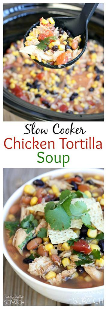 Slow Cooker Chicken Tortilla Soup with shredded chicken, black and pinto beans, corn, and diced tomatoes. Simple to throw together and it cooks itself! | tastesbetterfromscratch.com