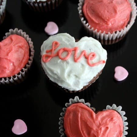 Heart Cupcakes (made with a muffin tin)