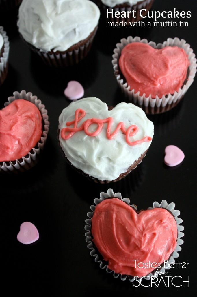 Heart Cupcakes made using a muffin tin and a marble! Recipe on TastesBetterFromScratch.com